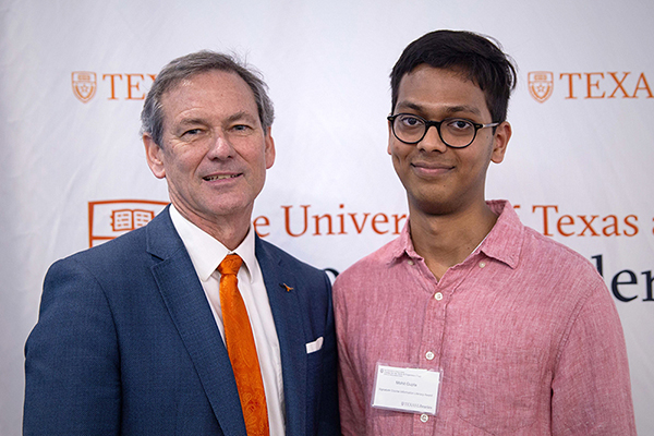 Mohit Gupta with Undergraduate Studies Dean Brent Iverson