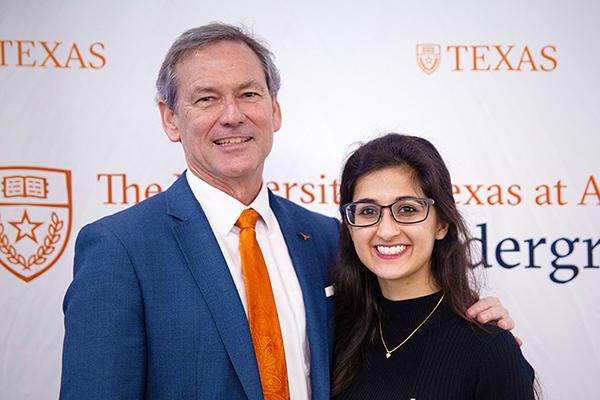 Tanvi Ingle with Undergraduate Studies Dean Brent Iverson
