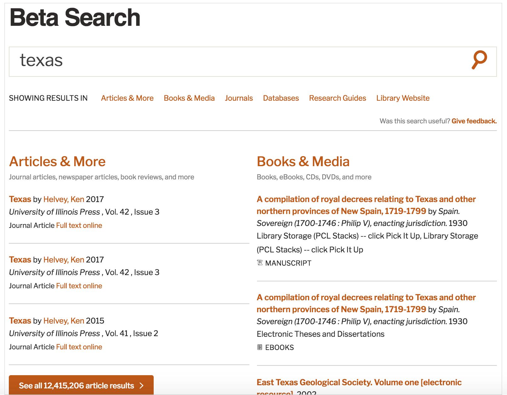 beta search results