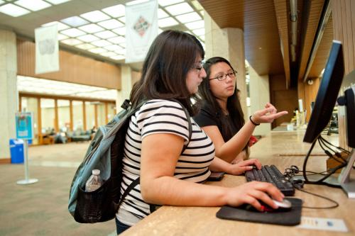 Student using catalog computer