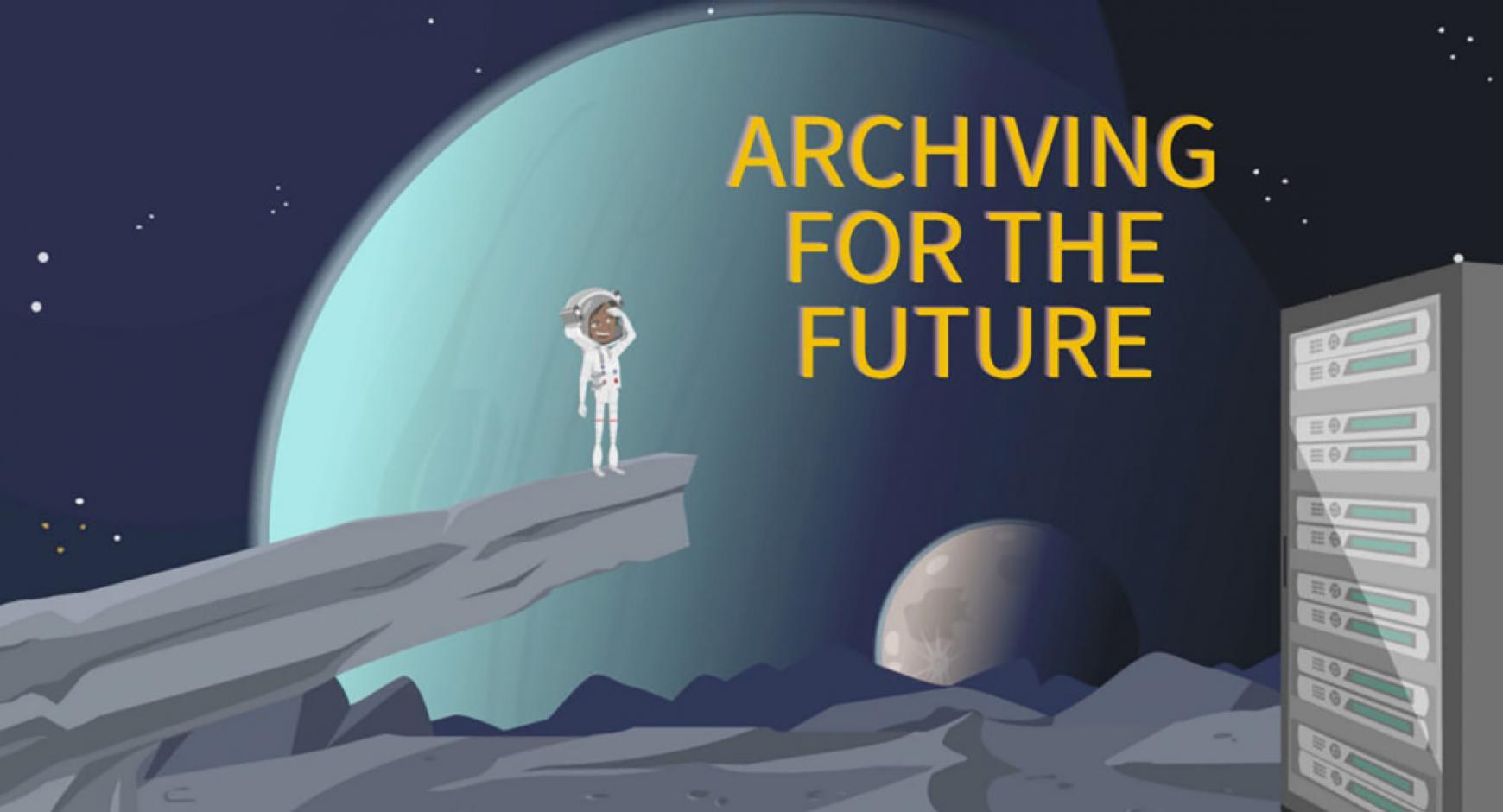 cartoon illustration of astronaut on lunar landscape looking at server