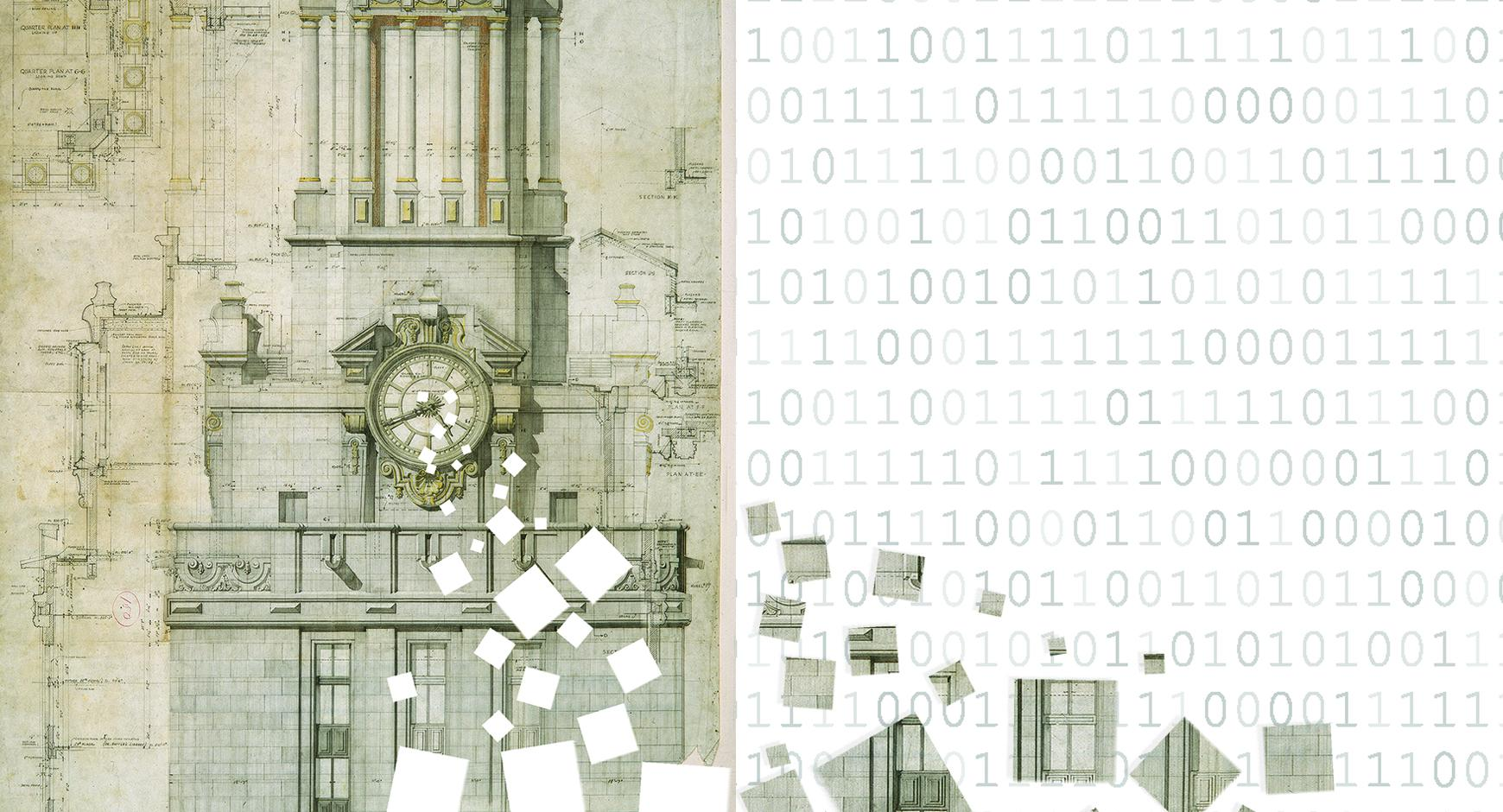 drawing of UT's tower pixelating into binary code