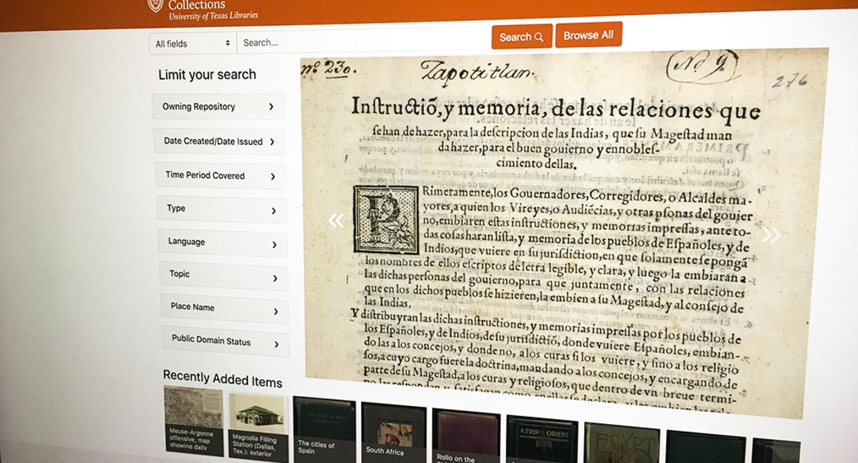 image of website for university of texas libraries digital collections