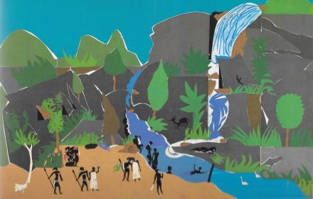 """Art by Romare Bearden titled, """"The Land of the Lotus Eaters"""", 1977, Collage of various papers with paint and graphite on fiberboard, 36 x 48 inches. From Romare Bearden: A Black Odyssey"""
