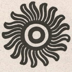 two circles surrounded by lines like flower petals or sun rays