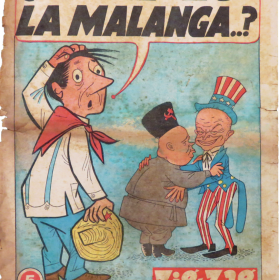 comic with speech bubble over man scratching head in foreground and two men hugging in background