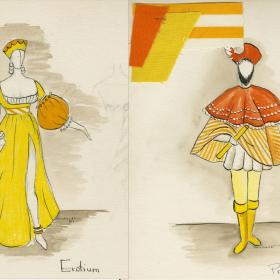 orange and yellow drawings of costumes for a man and woman